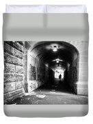 Man's Silhouette In Urban Tunnel Black And White Duvet Cover