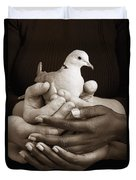 Many Hands Holding A Dove Duvet Cover