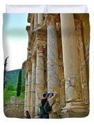 Many Photographers At Library Of Celsus-ephesus Duvet Cover