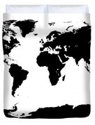 Map In Black And White Duvet Cover