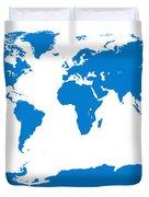 Map In Blue Duvet Cover
