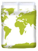 Map In Chartreuse Green Duvet Cover