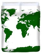 Map In Forest Green Duvet Cover