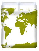 Map In Olive Green Duvet Cover