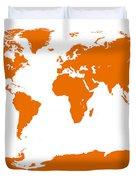 Map In Orange Duvet Cover