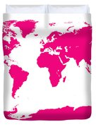 Map In Pink Duvet Cover