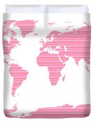 Map In Pink Stripes Duvet Cover