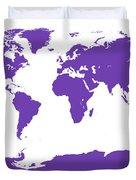 Map In Purple Duvet Cover