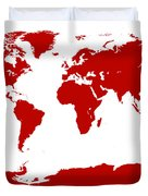 Map In Red Duvet Cover
