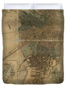 Map Of Boston 1852 Duvet Cover