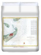Map Of Galveston City And Harbor Texas Duvet Cover