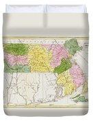 Map Of Massachusetts, From Historical Collections Of Massachusetts, By John Warren Barber, 1839 Duvet Cover