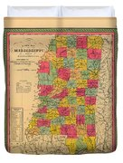 Map Of Mississippi 1850 Duvet Cover