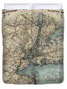 Map Of New York 1891 Duvet Cover