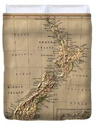 Map Of New Zealand 1880 Duvet Cover