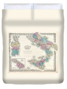 Map Of Southern Italy Sicily Sardinia And Malta Duvet Cover