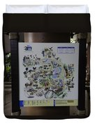 Map Of The Jurong Bird Park Along With A Tourist Duvet Cover
