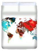 Map Of The World 5 -colorful Abstract Art Duvet Cover