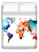 Map Of The World 8 -colorful Abstract Art Duvet Cover