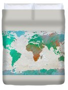 Map Of The World - Colors Of Earth And Water Duvet Cover