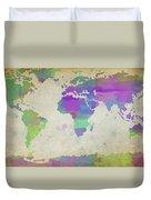 Map Of The World - Plaid Watercolor Splatter Duvet Cover