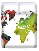 Map Of The World Red Green Duvet Cover