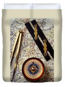 Map With Compass Tools Duvet Cover