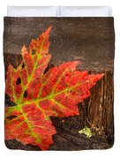 Maple Leaf On Oak Stump Duvet Cover