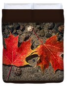 Maple Leaves In Water Duvet Cover