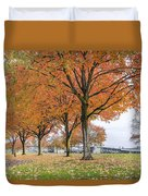 Maple Trees In Portland Downtown Park In Fall Duvet Cover