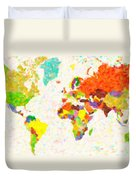 maps pointilism World Map with leaves Duvet Cover