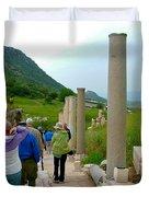 Marble Way In Ephesus-turkey Duvet Cover