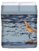 Marbled Godwit At Sunset Duvet Cover