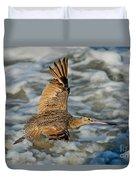 Marbled Godwit Flying Over Surf Duvet Cover