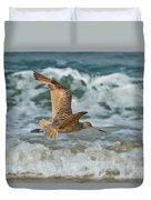 Marbled Godwit Over Surf Duvet Cover