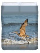 Marbled Godwit Taking Off On Beach Duvet Cover