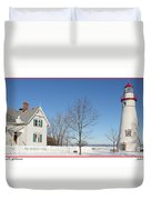Marblehead Lighthouse In Snow Duvet Cover