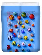 Marbles On Blue Board Duvet Cover