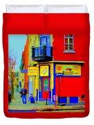 Marche Unique Cafe Sandwich Depanneur Rue St. Jacques St. Henri  Street Scenes Carole Spandau Duvet Cover