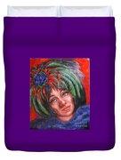 Mardi Gras Girl Duvet Cover