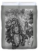 Mardi Gras Indian Monochrome Duvet Cover