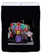 Mardi Gras Vendor's Cart Duvet Cover