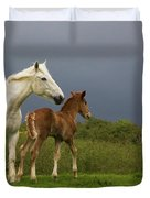Mare And Foal, Co Derry, Ireland Duvet Cover