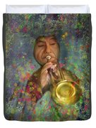 Mariachi Trumpet Player Duvet Cover