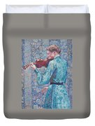 Marie Anne Weber Playing The Violin  Duvet Cover