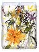 Marigold And Other Flowers Duvet Cover