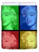 Marilyn Monroe Colored Frame Pop Art Duvet Cover by Daniel Hagerman