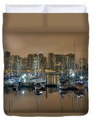 Marina Along Stanley Park In Vancouver Bc Duvet Cover
