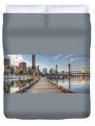 Marina Along Willamette River In Portland Oregon Downtown Duvet Cover