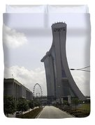 Marina Bay Sands And Singapore Flyer As Seen From A Distance Duvet Cover